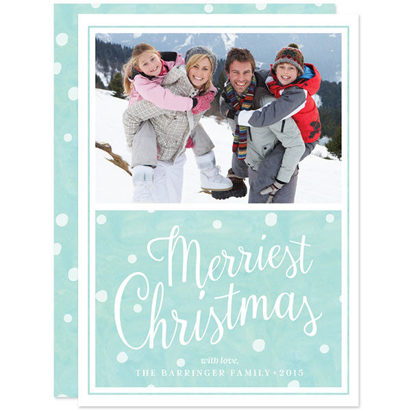 Merriest Christmas Snow Flurries Holiday Photo Card
