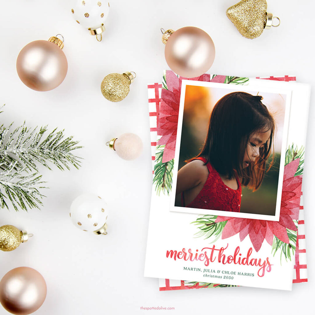 Floral Merriest Holidays Holiday Photo Cards by The Spotted Olive - Scene