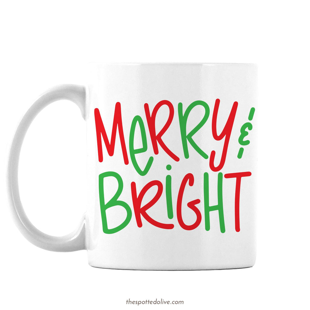 Hand Lettered Merry & Bright Mug By The Spotted Olive - Left