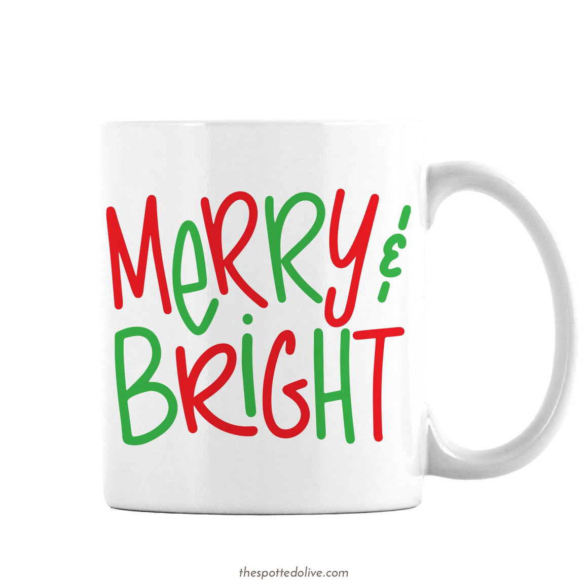 Hand Lettered Merry & Bright Mug By The Spotted Olive - Right