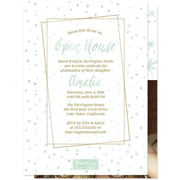 Mint Watercolor Year Photo Graduation Announcements by The Spotted Olive - Back