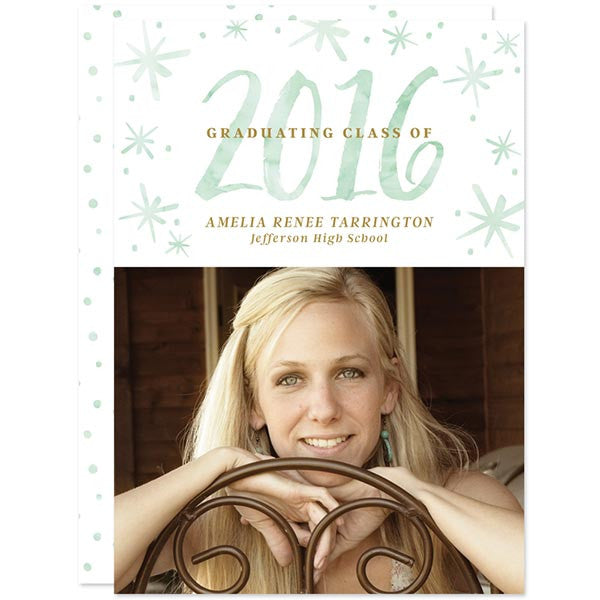 Mint Watercolor 2016 Graduation Announcements - Class of 2016 by The Spotted Olive