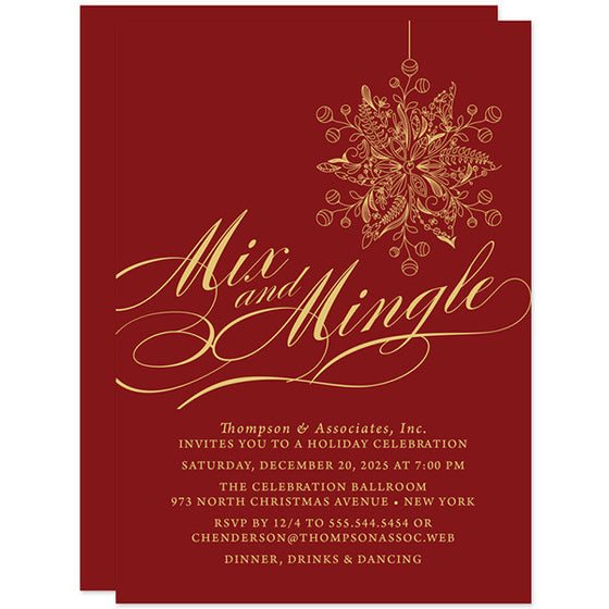 Mix and Mingle Fancy Ornament Holiday Party Invitations by The Spotted Olive