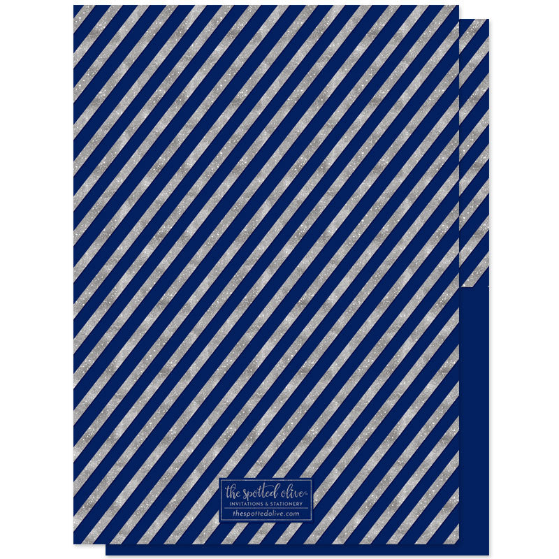 Mod Stripes Navy & Silver Holiday Photo Cards by The Spotted Olive - Back