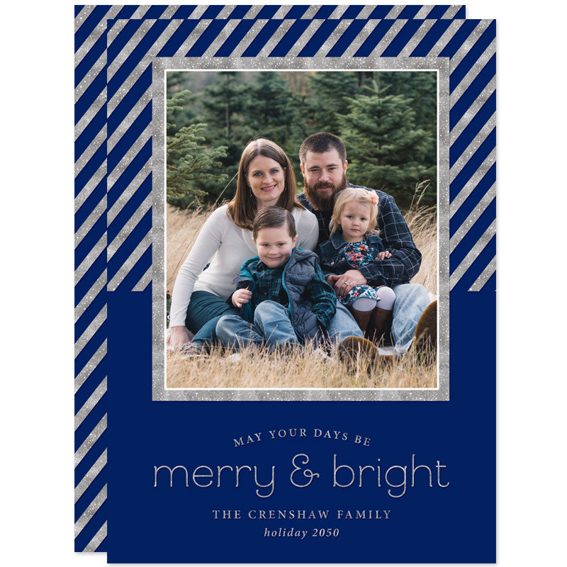 Mod Stripes Navy & Silver Holiday Photo Cards by The Spotted Olive