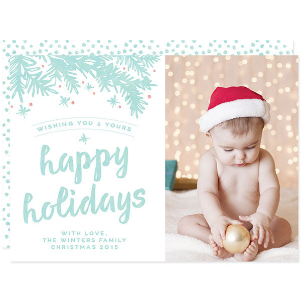 Modern Branches Happy Holidays Christmas Photo Cards by The Spotted Olive