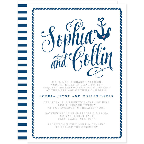 Modern Calligraphy Nautical Wedding Invitations
