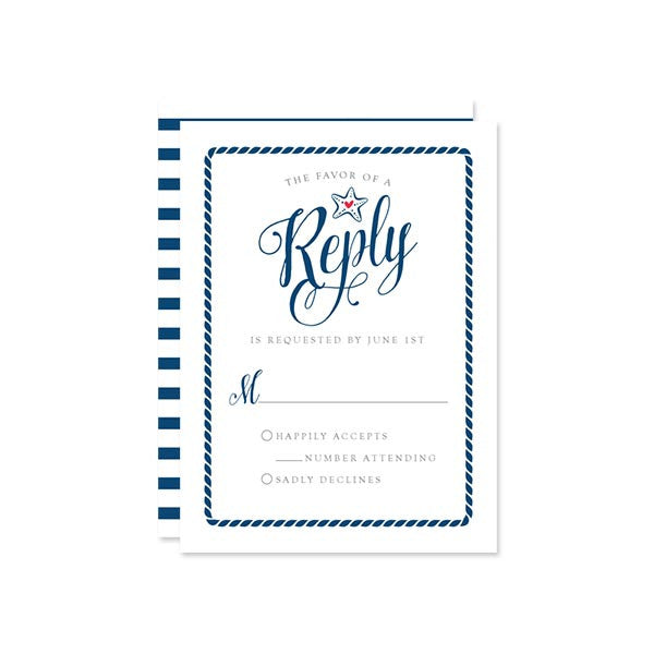 Modern Calligraphy Nautical RSVP Cards by The Spotted Olive