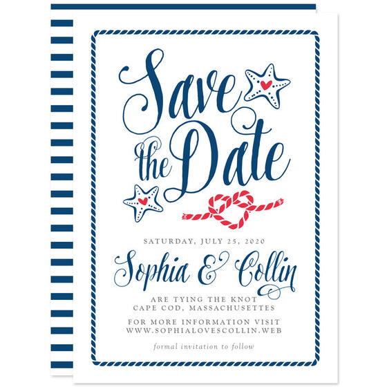 Modern Calligraphy Nautical Save The Dates