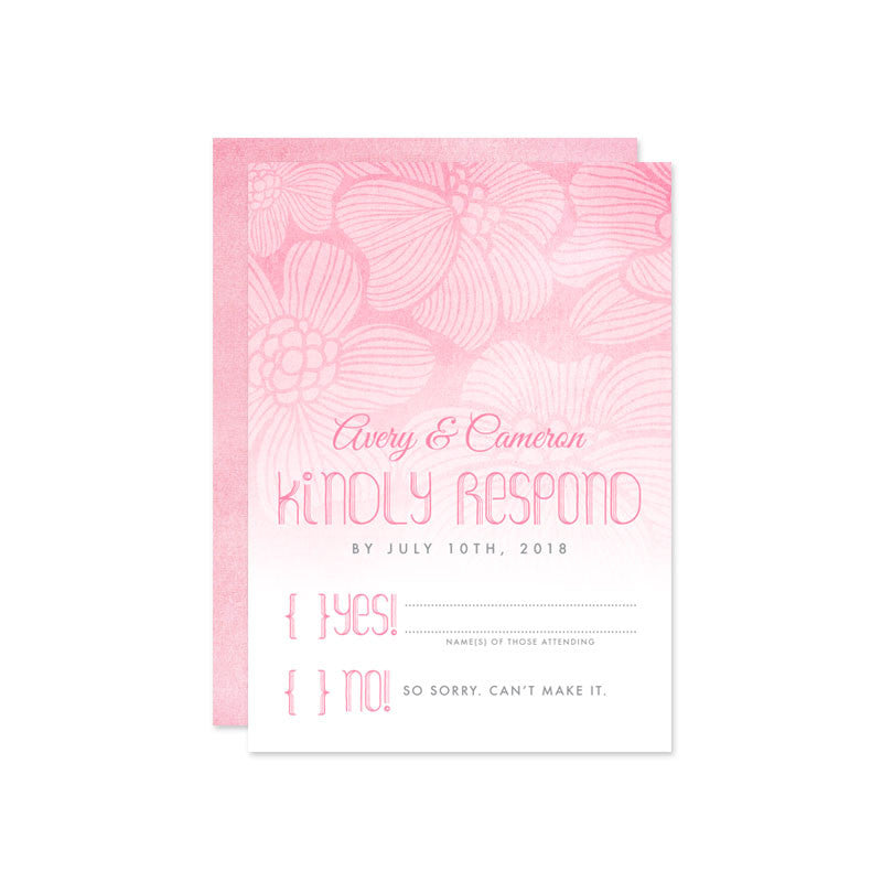Wedding RSVP Cards Pink Ombre Tropical Flowers The Spotted Olive