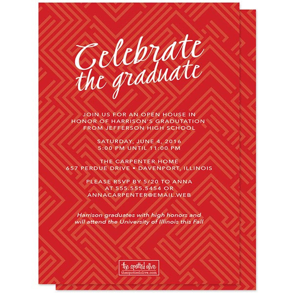 Modern Red Graduation Announcements by The Spotted Olive back
