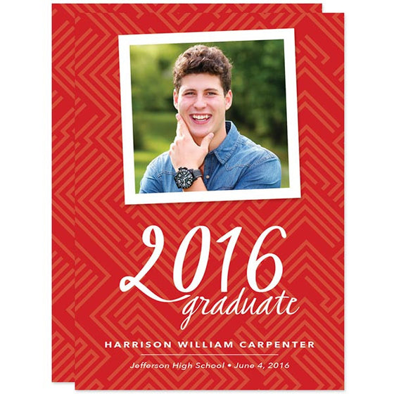 Modern Red Graduation Announcements by The Spotted Olive