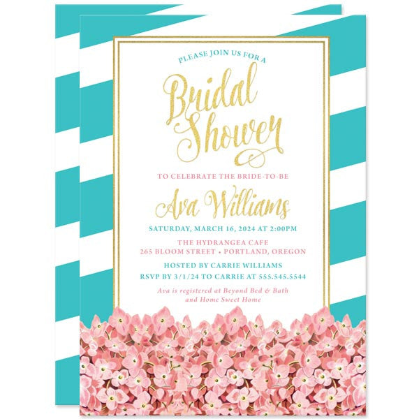 Bridal Shower Invitations - Modern Vintage Hydrangeas