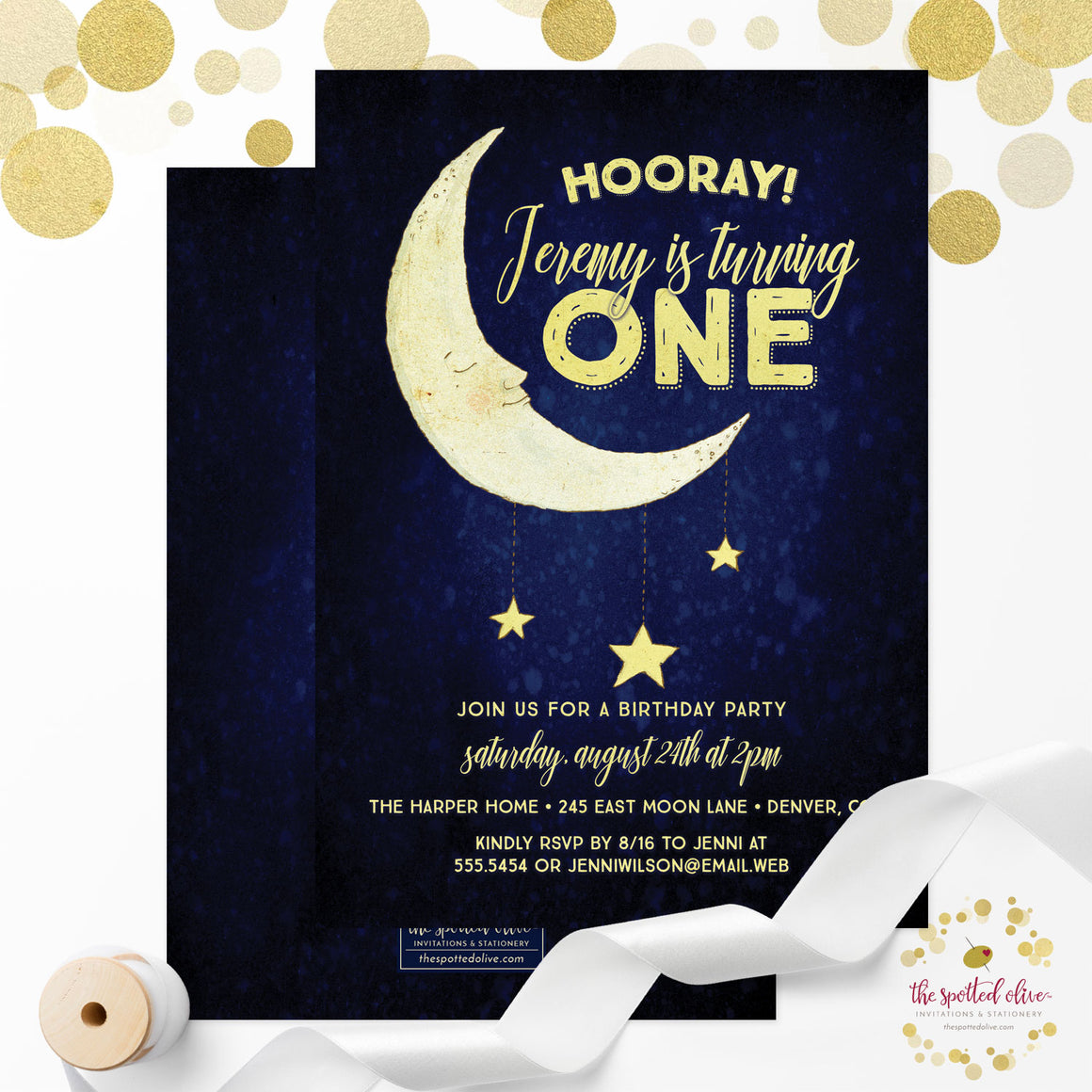 Kids Birthday Party Invitations - Moon & Stars, Blue