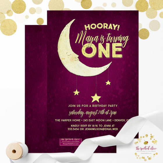 Kids Birthday Party Invitations - Moon & Stars, Pink