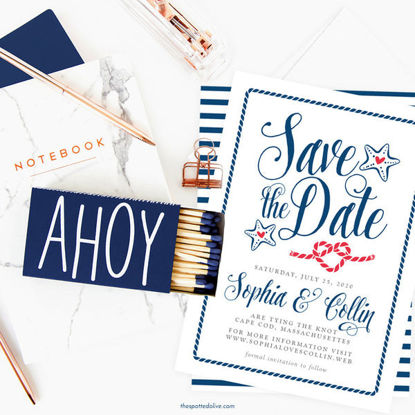 Nautical Modern Calligraphy Save The Date Cards by The Spotted Olive