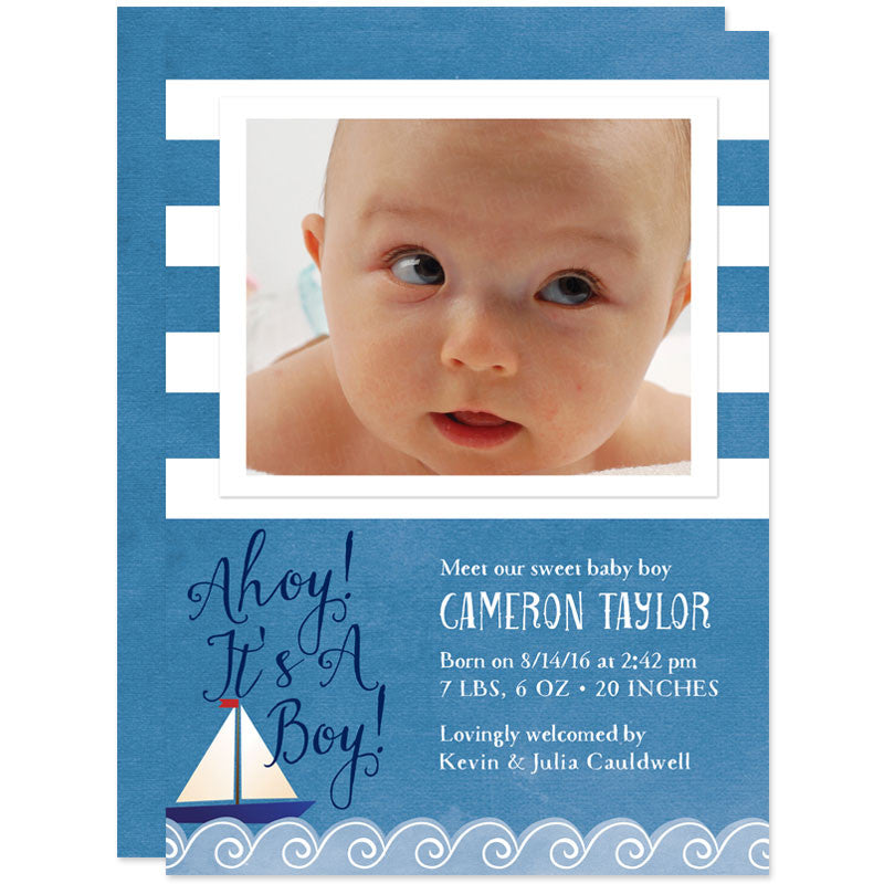 Blue Nautical Stripes Photo Birth Announcements