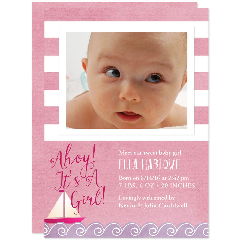 Pink Nautical Stripes Photo Birth Announcements