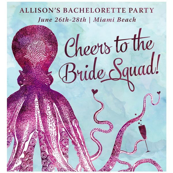 Nautical Vintage Octopus Bachelorette Party Wine Labels by The Spotted Olive