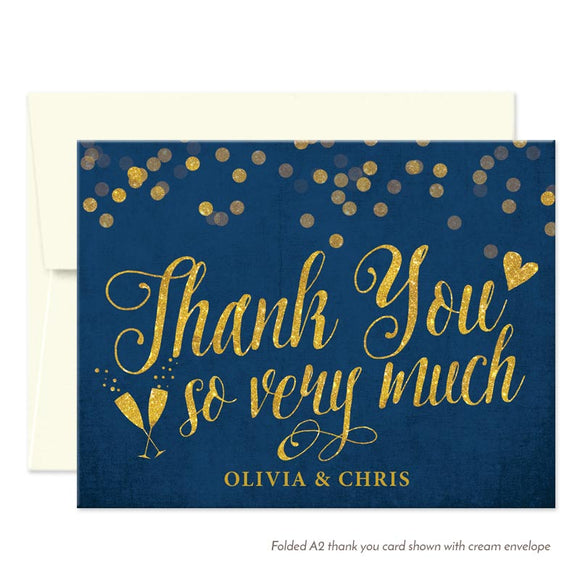 Navy & Gold Confetti Personalized Thank You Cards by The Spotted Olive - White Envelope