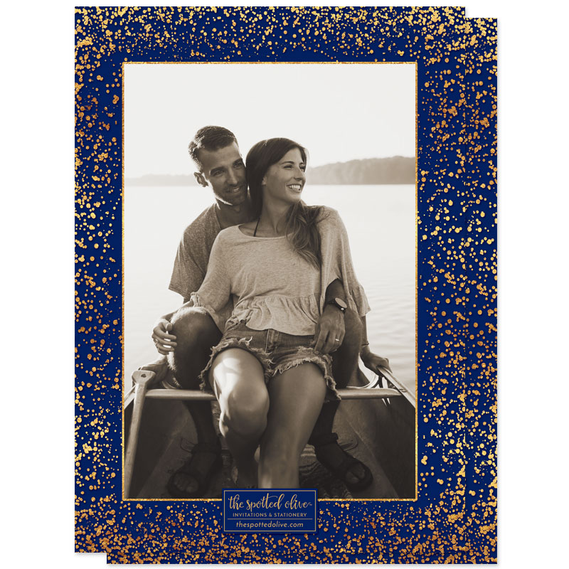 Navy & Gold Confetti Photo Engagement Party Invitations by The Spotted Olive - Back