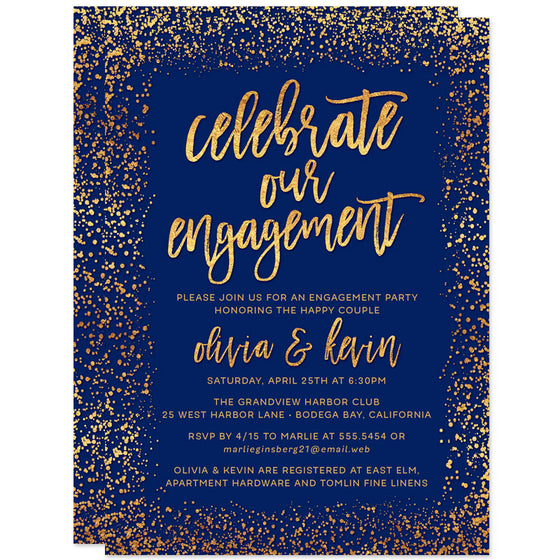 Navy & Gold Confetti Photo Engagement Party Invitations by The Spotted Olive