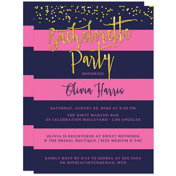 Navy & Pink Stripes Gold Confetti Bachelorette Party Invitations by The Spotted Olive