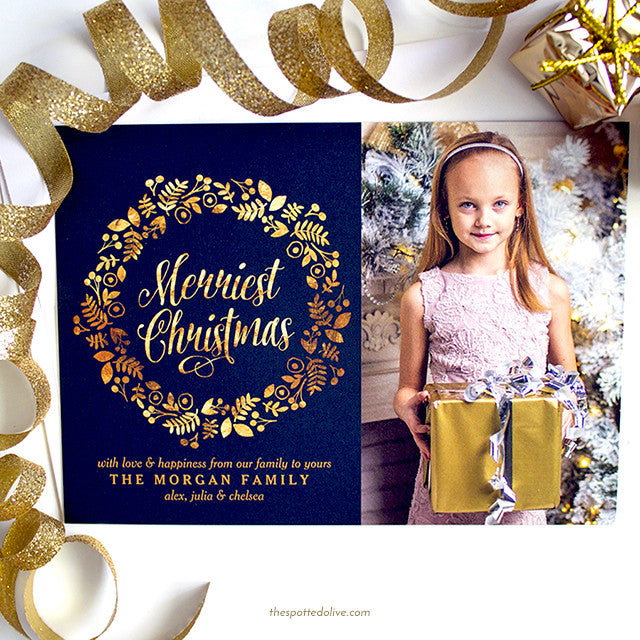Gold Wreath Merriest Christmas Holiday Photo Cards by The Spotted Olive - Scene