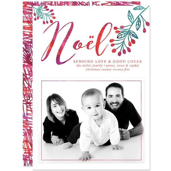 Watercolor Noël Holiday Photo Cards by The Spotted Olive
