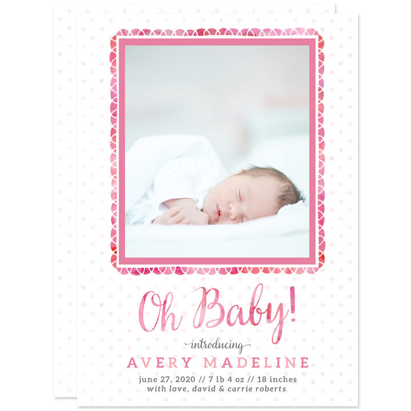 Oh Baby Fun Frame Birth Announcements - Pink