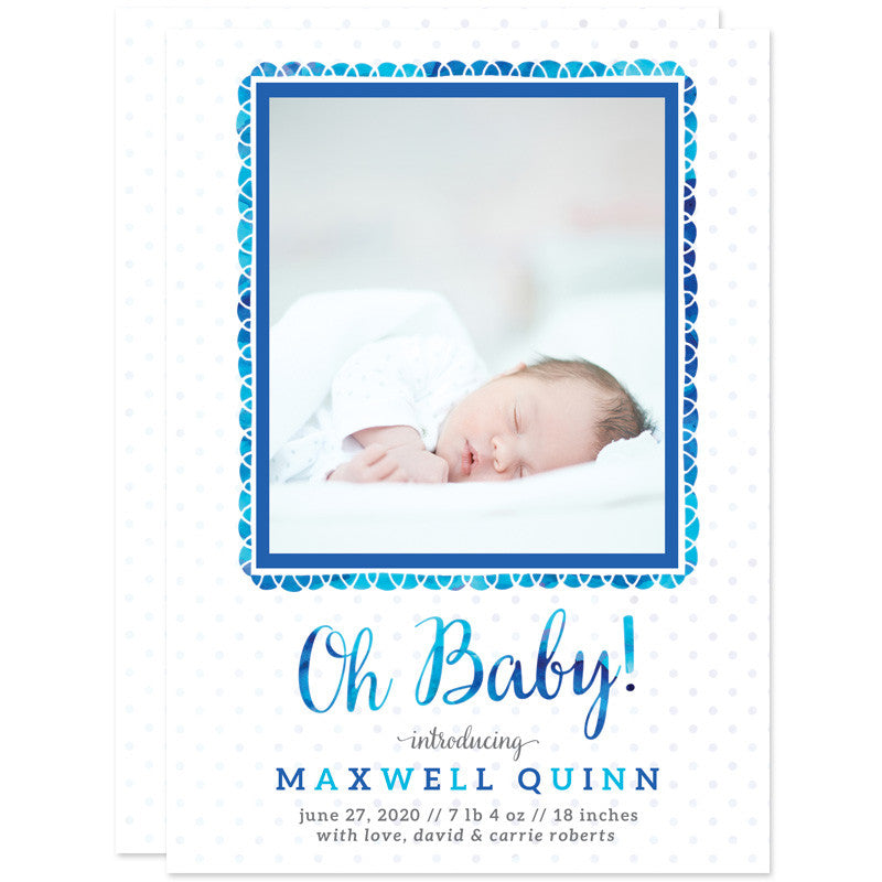 Oh Baby Fun Frame Birth Announcements - Blue