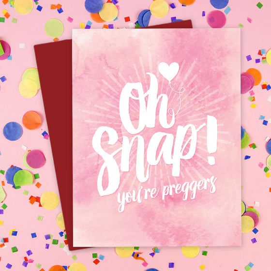 Oh Snap! You're Preggers Card by The Spotted Olive - Pink Scene
