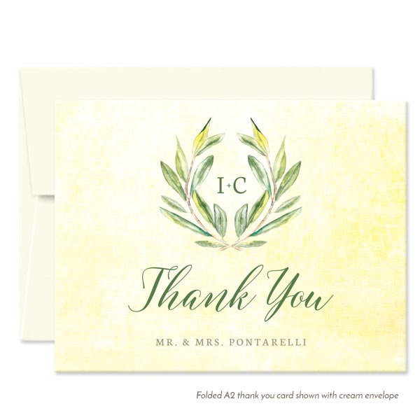 Olive Branch Personalized Thank You Cards by The Spotted Olive - Cream Envelope
