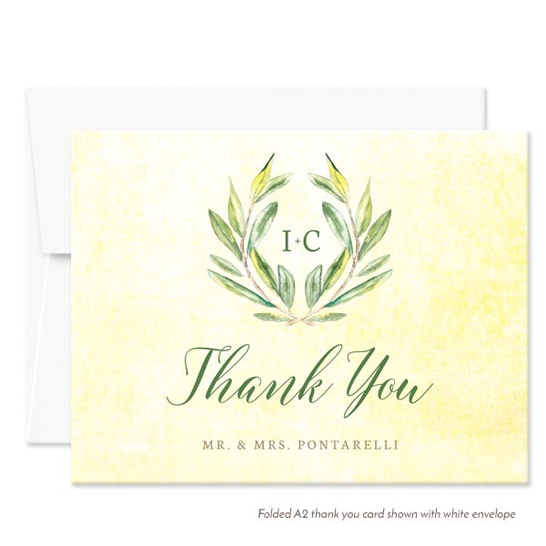 Olive Branch Personalized Thank You Cards by The Spotted Olive - White Envelope
