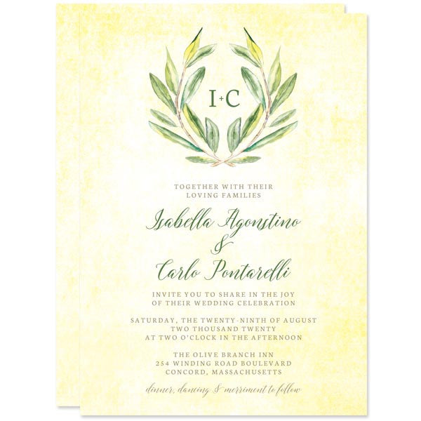 Olive Branch Wedding Invitations by The Spotted Olive
