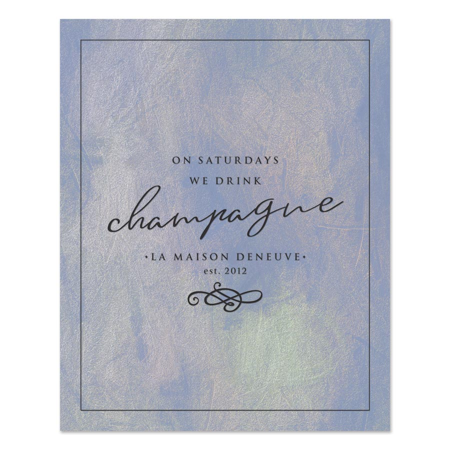 On Saturdays We Drink Champagne Personalized Art Print by The Spotted Olive