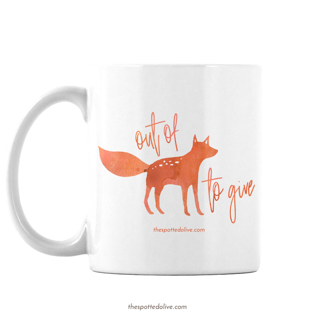 Funny Out of Fox to Give Coffee Mug by The Spotted Olive - Left