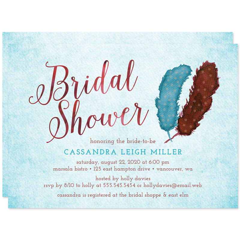Painted Feathers Bridal Shower Invitations