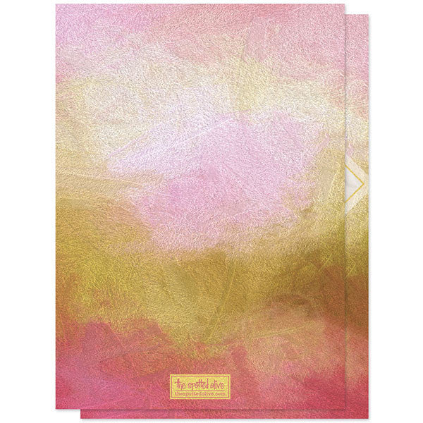 Painted Pink & Gold New Year Photo Cards by The Spotted Olive back