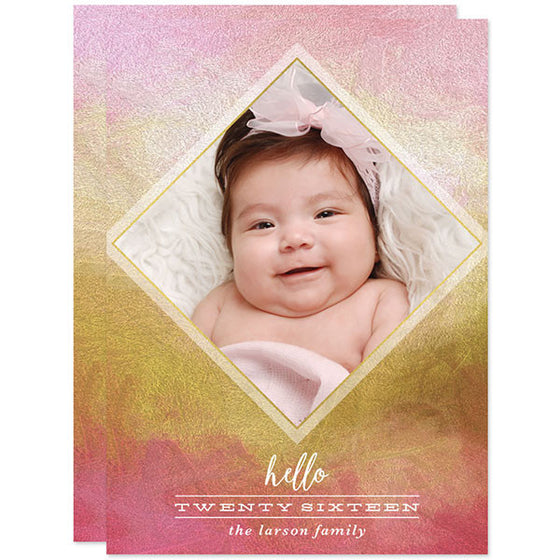 Painted Pink & Gold New Year Photo Cards by The Spotted Olive