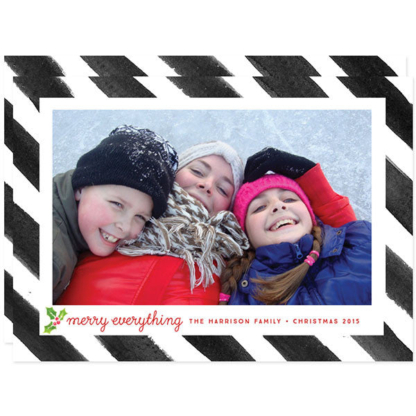 Painted Stripes Merry Everything Holiday Christmas Photo Cards by The Spotted Olive