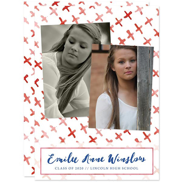 Painterly Xs Graduation Announcements by The Spotted Olive