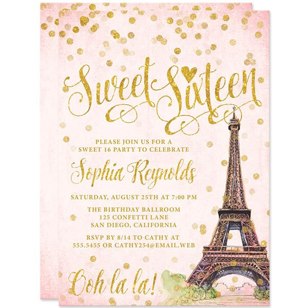 Paris Blush & Gold Confetti Sweet 16 Party Invitations by The Spotted Olive