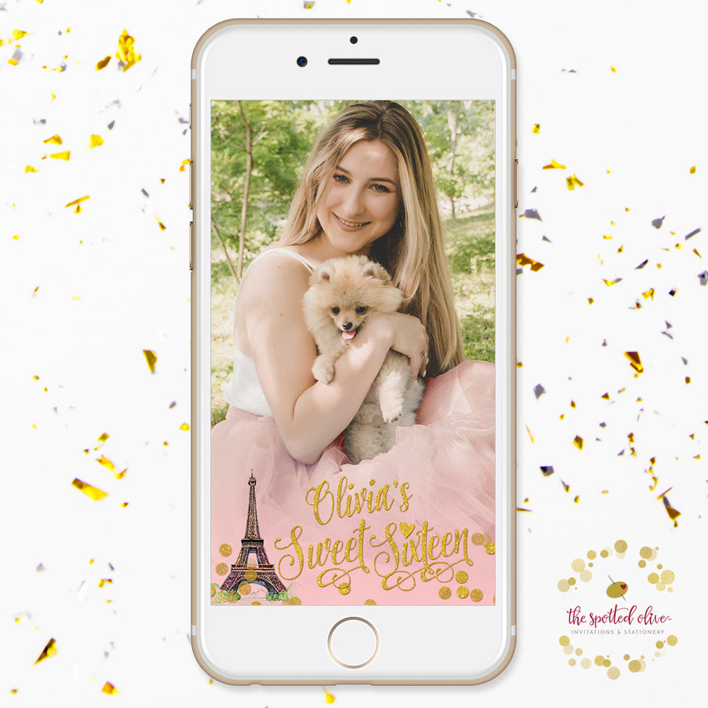 Paris Blush & Gold Confetti Sweet 16 Personalized Snapchat Geofilter