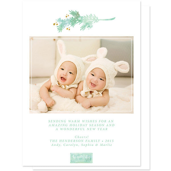 Peace & Joy Pine Boughs Holiday Photo Cards by The Spotted Olive back