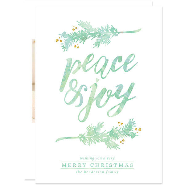 Peace & Joy Pine Boughs Holiday Photo Cards by The Spotted Olive