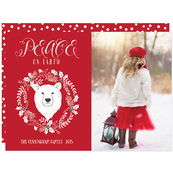 Peace on Earth Bear Wreath Christmas Holiday Photo Card by The Spotted Olive