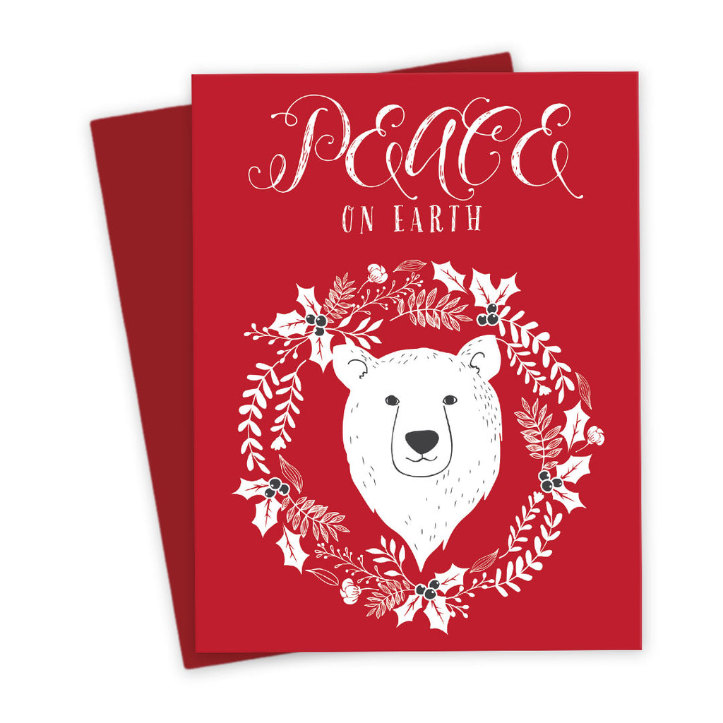 Peace on Earth Polar Bear Holiday Card by The Spotted Olive