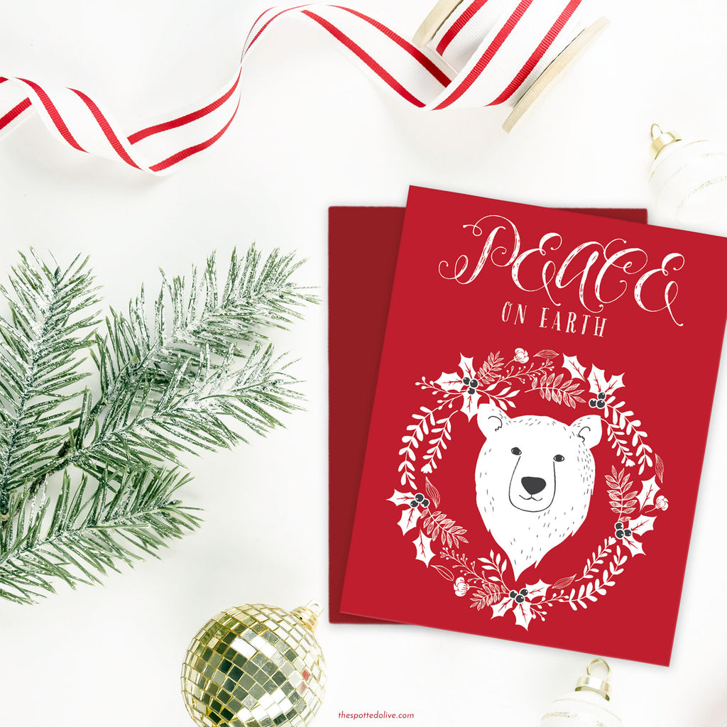 Peace on Earth Polar Bear Holiday Card by The Spotted Olive-Scene