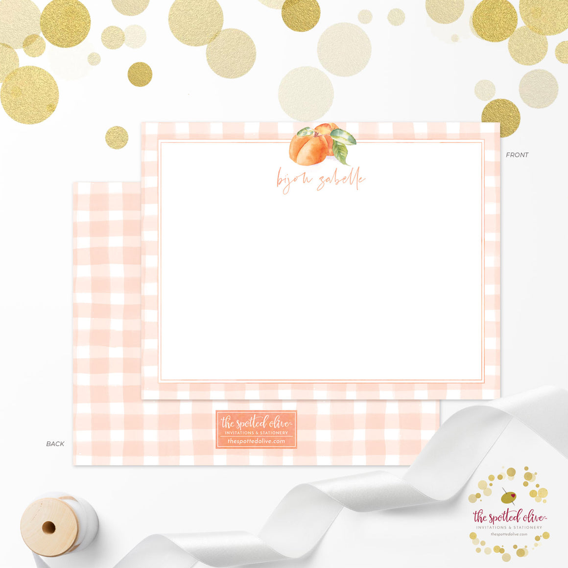 Personalized Note Cards - Peaches